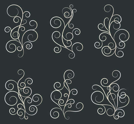 Set of curls and scrolls. Decorative elements for frames. Elegant swirl vector illustration. Banque d'images - 107410767