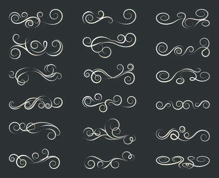 Set of curls and scrolls. Decorative divider elements for frames and books. Elegant swirl design vector illustration.