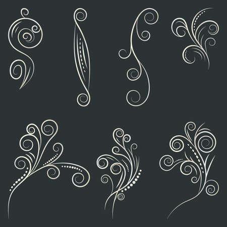 Ornamental design elements. Vector illustration for design, postcard, menu, wedding invitation and books.