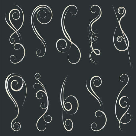 Calligraphic Design Elements. Swirls And Borders. Vector Illustration. Banque d'images - 107410776