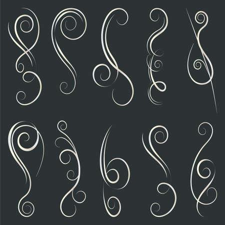 Calligraphic Design Elements. Swirls And Borders. Vector Illustration. Ilustração