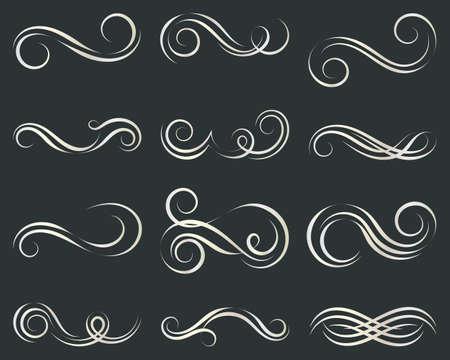 Set of curls and scrolls. Decorative elements for frames. Elegant swirl vector illustration.