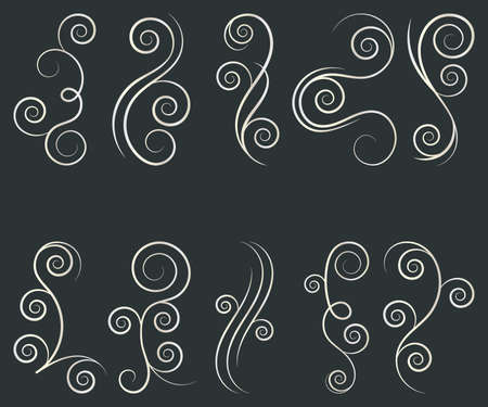 Swirl set of vector graphic elements for design, postcard, menu, wedding invitation, romantic style. Vector illustration.