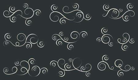 Set of curls and scrolls. Decorative divider elements for frames and books. Elegant swirl vector illustration. Illustration