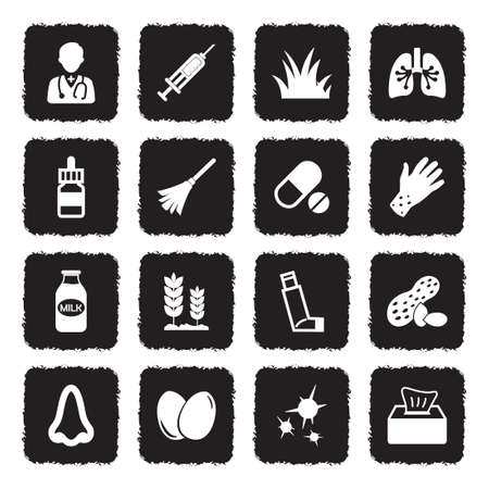 Allergies Icons. Grunge Black Flat Design. Vector Illustration. Ilustração