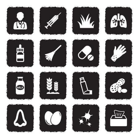 Allergies Icons. Grunge Black Flat Design. Vector Illustration. Illustration