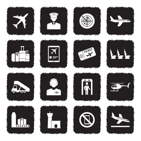 Aviation Icons. Grunge Black Flat Design. Vector Illustration. Banque d'images - 107305509