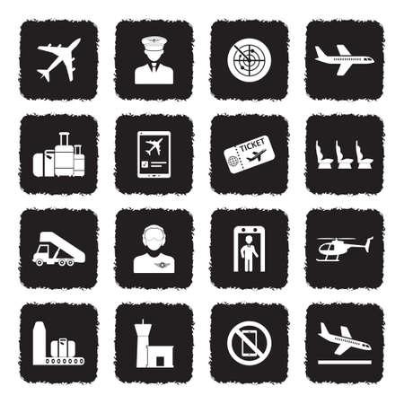 Aviation Icons. Grunge Black Flat Design. Vector Illustration.