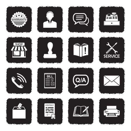 Complaint Icons. Grunge Black Flat Design. Vector Illustration.