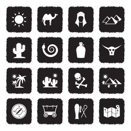 Desert Icons. Grunge Black Flat Design. Vector Illustration. Illustration
