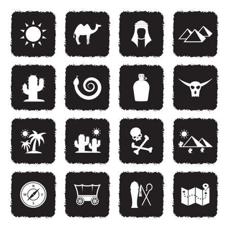 Desert Icons. Grunge Black Flat Design. Vector Illustration. Stock Illustratie