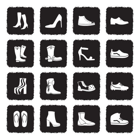 Footwear Icons. Grunge Black Flat Design. Vector Illustration. Banque d'images - 107305476