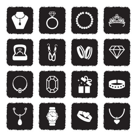 Jewelry Icons. Grunge Black Flat Design. Vector Illustration. Ilustração