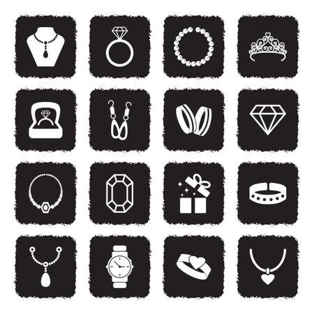 Jewelry Icons. Grunge Black Flat Design. Vector Illustration. Illustration