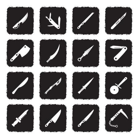 Knives Icons. Grunge Black Flat Design. Vector Illustration.