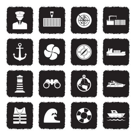 Marine Port Icons. Grunge Black Flat Design. Vector Illustration. Banque d'images - 107305479