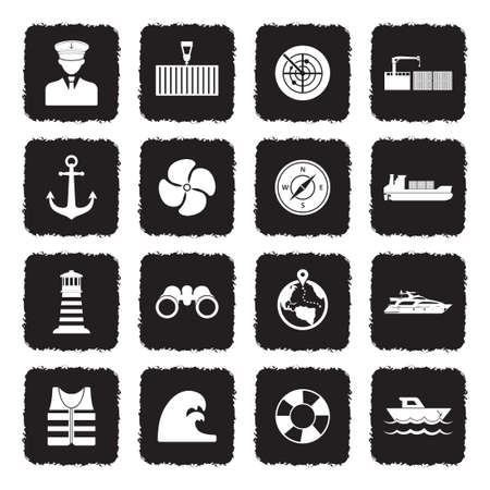 Marine Port Icons. Grunge Black Flat Design. Vector Illustration.
