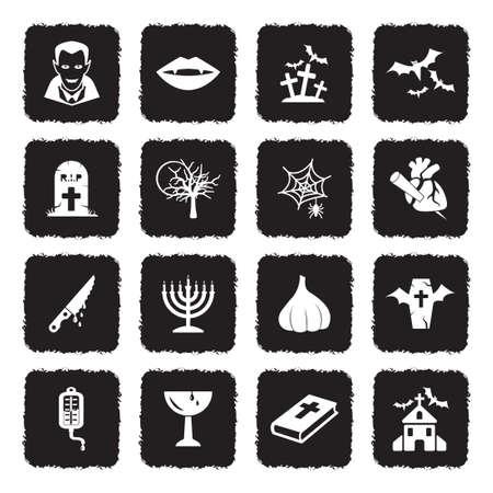 Vampire Icons. Grunge Black Flat Design. Vector Illustration.