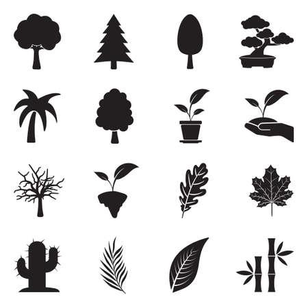Tree Icons. Black Flat Design. Vector Illustration.