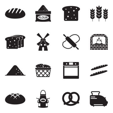 Icônes De Pain. Design plat noir. Illustration vectorielle.