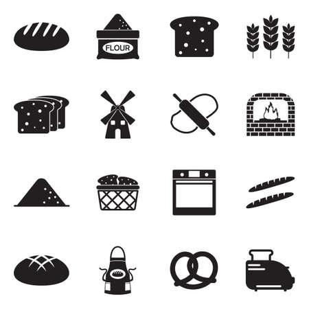 Bread Icons. Black Flat Design. Vector Illustration.