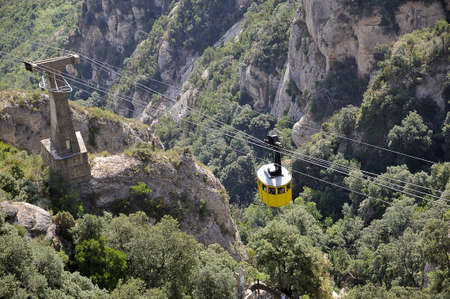 the cable car up to Montserrat from the village Stock Photo - 15733441