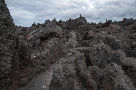 solidified lava rocks that have made an alien landscape Stock Photo