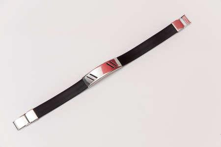 rubber bracelet and silver decorative Stock Photo - 17226697