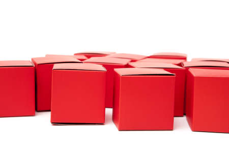 abstracto: red cubes on white background Stock Photo