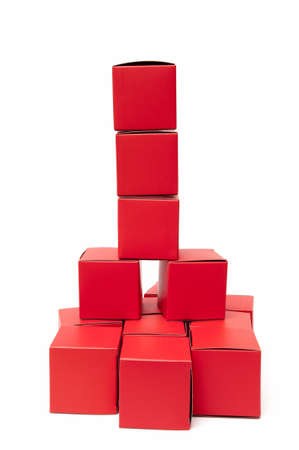 red cubes on white background Stock Photo