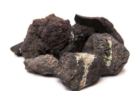 igneous: volcanic stones on white background