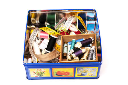 sewing box: sewing box on a white background
