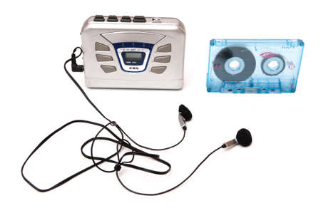 tape walkman with music on a white background Stock Photo