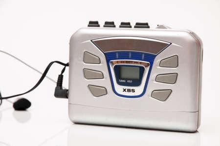 walkman to listen to music on a white background