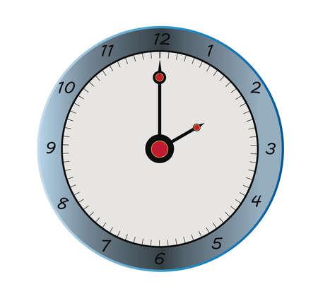 dibujo de un reloj gris y negro con agujas rojas Foto de archivo - 18089880