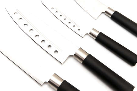 several knives on a white background