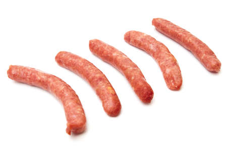 pork sausages on a white background