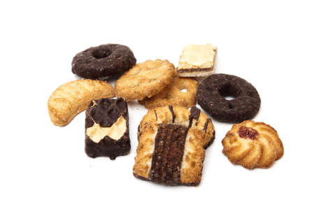 assorted cookies on a white background photo