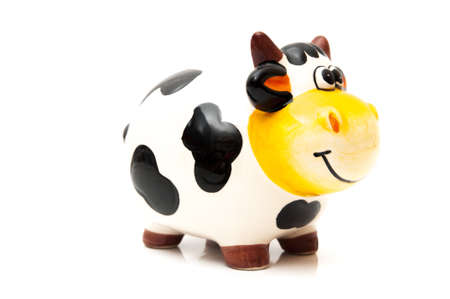 cow piggy bank on a white background