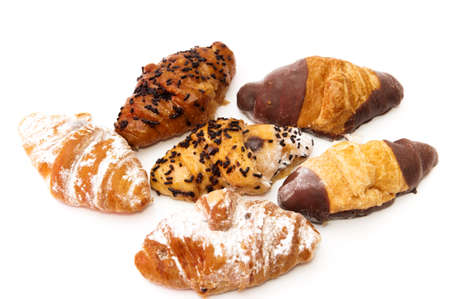 chocolate croissants on a white background photo