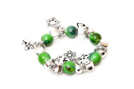 bracelet green balls on a white background
