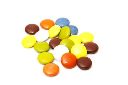 titbits: colorful candies on a white background