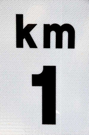 kilometer: kilometer sign on a bright background