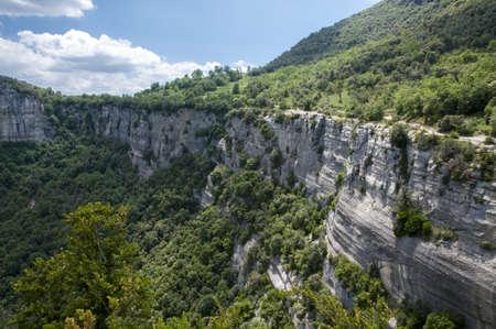 Mountain cliffs Rupit, Catalonia photo