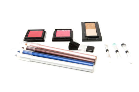 makeup kit with different shades and colors photo