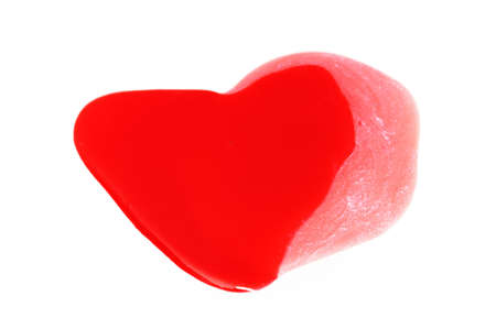 painted red heart shaped on a white background Stock Photo