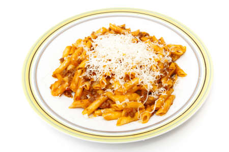 macaroni and Parmesan cheese on a white background