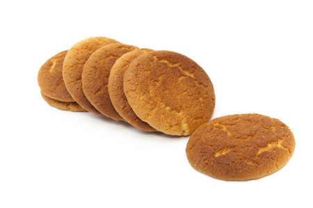 round cookies on a white background Stock Photo
