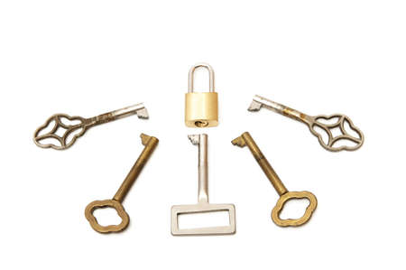 padlock with keys on a white background photo