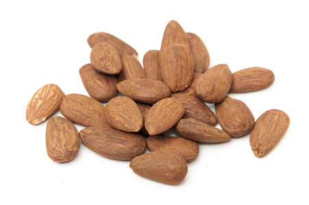dried almonds on a white background